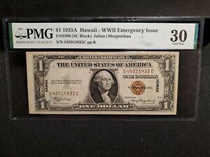 FR#2300 1935 A Hawaii WW2 Emergency Issue SC Block PMG VF 30