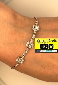 Italian 925 Sterling Silver Flower Bracelet Chain - FULLY HALLMARKED & FREE P&P