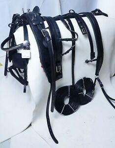NEW STRONG  LEATHER HORSE CART DRIVING HARNESS BLACK COLOUR, FULL, COB, PONY