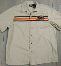Harley Davidson Genuine Motor Clothes Shirt Large Tan Embroidered Metal Buttons