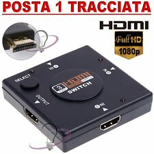SWITCH INTERRUTTORE X CAVO HDMI 1080p 3 PORTE FULL HD TV ADATTATORE SDOPPIATORE