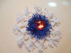 Shuttle Tatted Snow Flake Royal Blue, Red Crystal  & White Dove Country Tatting