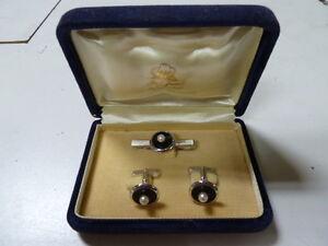 Vintage FUJI Cultured Pearl Silver Cufflinks Tie Clasp in Original Box