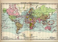Antique map world traffic / colonies globe 1932 ship shipping trade
