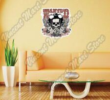 "Wanted Wild West Cowboy Gun Skull Gift Wall Sticker Room Interior Decor 22""X22"""