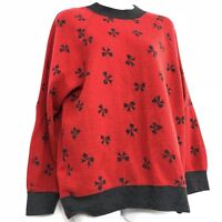 Vintage Sweatshirt 80s Medium Red Sweater Bows Heather Gray Boxy Fit Long Sleeve