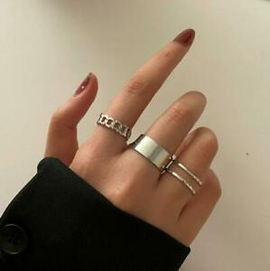 Fashion Silver Gold Adjustable Rings 3pcs Set Women Girls Accessories Ring Gift