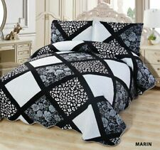 3-Pcs Super Soft QUEEN Quilted Reversible VELVET Bedspread Coverlet Set - MARIN