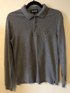 Lyle & Scott Grey Long Sleeved Polo Shirt Size M