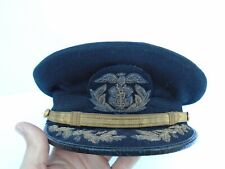 Original WW2 U.S. Maritime Service (USMS) Navy Senior Officer's Cap Hat - Named