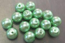 Vintage Japan Yummy Mint Green Glass Base Pearl Round Roundish Bead Lot