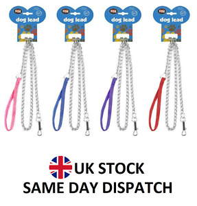 Metal Dog Chain Leads Better Control Dog Puppy Lead Nylon Handle Leash 1.2 Meter