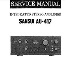 SANSUI AU-417 Stéréo intégrés service Amp Manuel Inc SCHEM diag Imprimé ENG