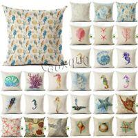 Ocean Animal Sea Horse Cushion Cover Throw Pillow Case Linen Cotton Home Decor