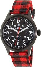"Timex TW4B02000, ""Expedition"" Red Nylon Buffalo Check Watch, Scout, Indiglo,Date"