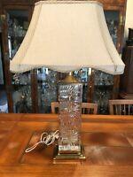 "Vintage Bohemian Dresdew Signed Rectangular Art Glass & Brass Table Lamp, 21"" T"