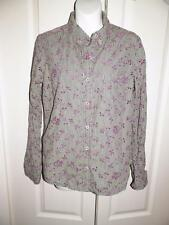ANTHROPOLOGIE ODILLE Multi Print EYELET EMBROIDERED Long Sleeve Blouse Size 8