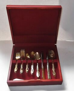 Vintage Gold Plated 43 Piece Stainless Flatware in Wood Case Lot Service for 8