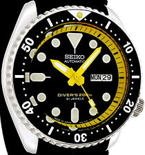 "Vintage Mens Watch SEIKO 7S26 Diver SKX Mod w/all Yellow ""Samurai"" Hand Set"