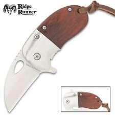 Ridge Runner Spring Assisted Open Mini Cleaver Folding Pocket Knife Blade Wood