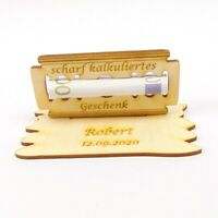 Geschenk für Männer, Rasierklinge Geldgeschenk aus Holz, Personalisiert mit Name