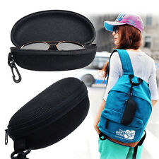Portable Zipper Sunglasses Eye Glasses Carry Box Hard Case Protector Shell Black
