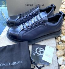Giorgio Armani Men's Black and Blue leather sneaker Shoes Style X2C596