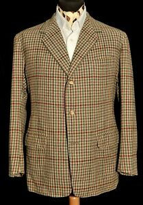 Vintage Bespoke Anderson & Sheppard Savile Row houndstooth check Jacket 40 1960s