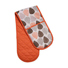 Amazing Double Oven Glove 100% Cotton Insulated Home Kitchen Orange Leaf Design
