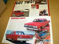 1966 Plymouth Hemi Satellite 1967 GTX & 440 Belvedere I 2 for 1 magazine article