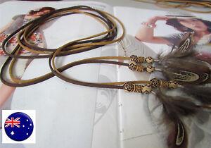 Women Lady Bohemian Boho Long Suede leather Feather Tassel Waist Belt Band Tie