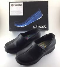 Grays Anatomy Womens Sz 7 Black Leather Meredith Professional Clogs Slip On