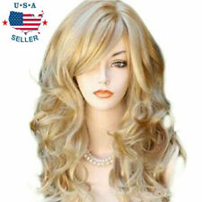 Fashion Lady Gold Blonde Cosplay Party Wigs Women Full Long Curly Wavy Hair Wig