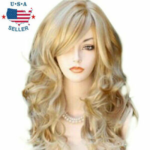 Ash Golden BERON Shoulder Length Curly Wig Charming Women Girls Beach Wave Wigs for Cosplay Party or Daily Use Wig Cap Included
