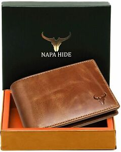 New RFID Protected Brown Leather Bi fold Wallet for Men