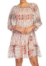 NEW - aDRESSing WOMAN Printed Woven  Off the Shoulder Dress & slip set - Sz M