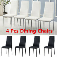Set of 4 Dining Side Chairs PVC High Back Leather Elegant Design Home Furniture