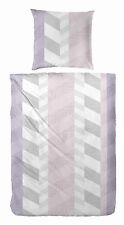 Fein Biber Bettwäsche in grau rosa 135 x 200 + 80 x 80 cm