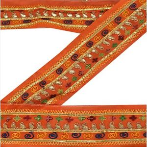 Sanskriti Vintage Sari Border Craft Orange Trim Hand Embroidered Sewing Lace
