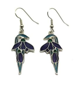 Silver Plated and Enamel Blue Art Deco Flower and Bud Wire Earrings (2757)