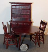 Dollhouse Miniature Dining Table & Chairs Kitchen Hutch 1:12 one inch scale  E43