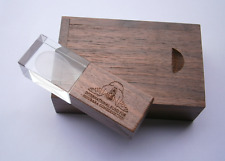 walnut Wooden crystal usb flash drive + wood box can custom logo on usb/cap/box