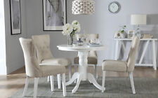 Kingston Round White Dining Room Table & 4 Bewley Fabric Chairs Set - Oatmeal