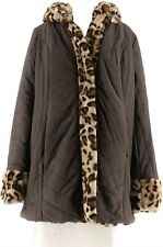 Dennis Basso Water Resist Puffer Reversible Coat Chocolate Lynx Xs New A270719
