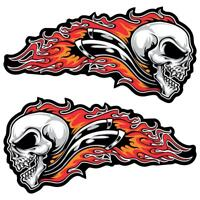 Skull Flames Large Laminated Stickers 200mm Motorcycle Car Bobber Hot Rod Decals