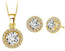 Diamante Bridal Jewellery Set White Zircon Gold Circle Earrings Necklace S630