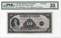 CANADA 1935 French $10 Bill depicting Princess Mary BC-8 P-45 PMG Choice VF-35