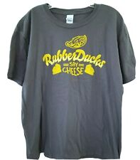 Rubber Ducks Mens T-Shirt Size XL Say Cheese Akron Minor League Baseball Gray