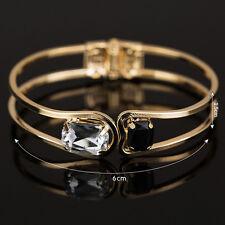 Fashion Women Crystal Gold Plated Open Cuff Bracelet Bangle Charm Jewelry Gift