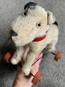 """Antique Steiff ?  Dog On Red Wheels Germany Black & White Mohair 7"""" No ID CUTE!"""
